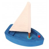 Grimms Wooden Sailing Boat - blue, small
