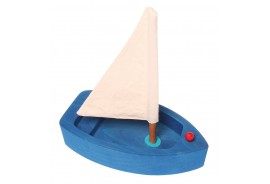 Grimms Wooden Sailing Boat - blue, large